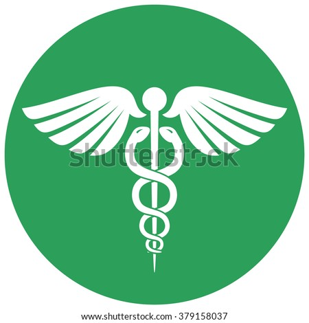 Single round green caduceus medical symbol over white background