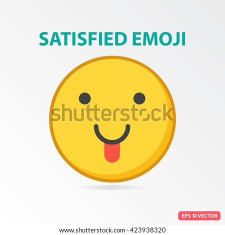 Single Satisfied emoji. Isolated vector illustration on white background.