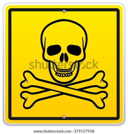 Single simple black skull and crossbones in square yellow warning sign over isolated white background