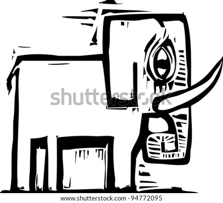 Single simply designed woodcut style elephant with tusks - stock vector