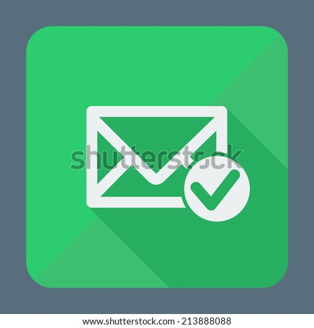 Single square flat icon for web applications, email icons design. Envelope with accept sign. Vector illustration. - stock vector