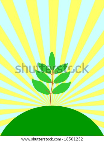 Single tree on a background a sun. Vector illustration.