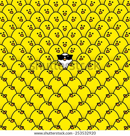 Single White Chick in cool Sunglasses Surrounded by Repeating Yellow Chicks all staring in its direction - stock vector