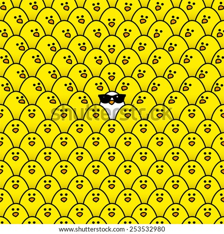 Single White Chick in cool Sunglasses Surrounded by Repeating Yellow Chicks with some staring in its direction - stock vector