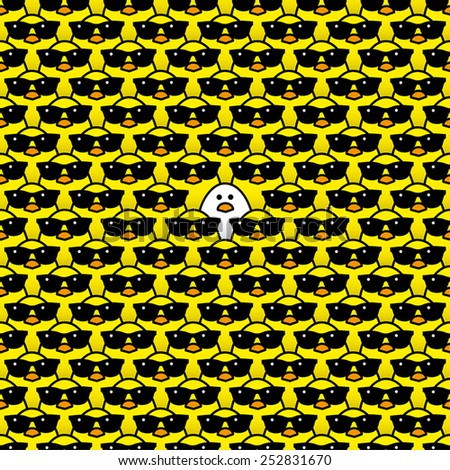 Single White Chick surrounded by Many Identical Cool Yellow Chicks wearing Black Sunglasses - stock vector