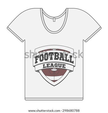 Single white T-Shirt with Football Label. Vector Illustration