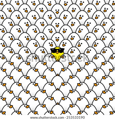 Single Yellow Chick in cool Sunglasses Surrounded by Repeating White Chicks all staring in its direction - stock vector