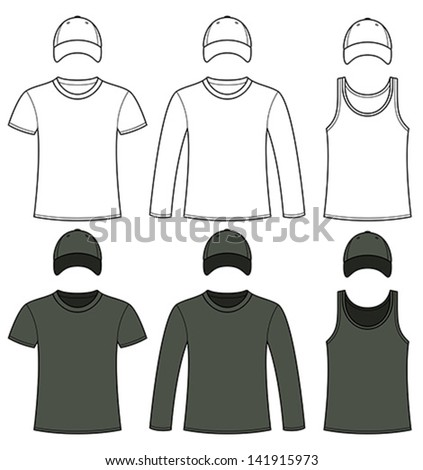 Singlet, T-shirt, Long-sleeved T-shirt and Cap template in black and white
