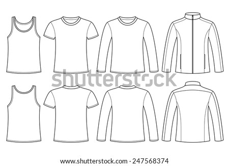 Singlet, T-shirt, Long-sleeved T-shirt and Jacket template - front and back isolated on white background - stock vector