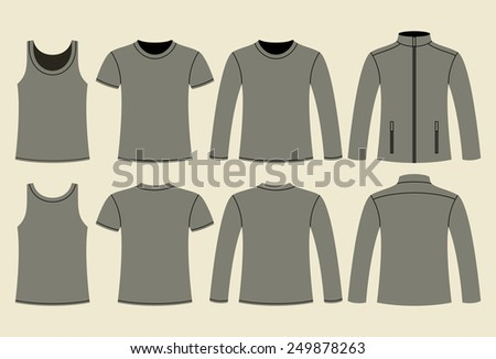 Singlet, T-shirt, Long-sleeved T-shirt and Jacket template - front and back on light background