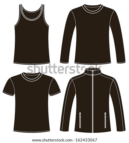 Singlet, T-shirt, Long-sleeved T-shirt and Jacket template isolated on white background