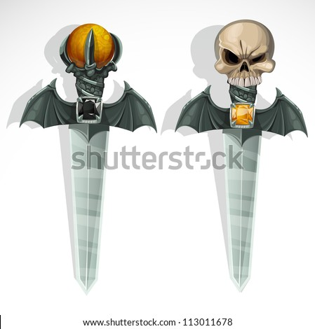 Sinister ritual sharp daggers. vector drawing - stock vector
