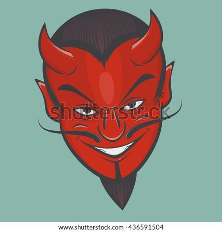 sinister satan face clipart - stock vector