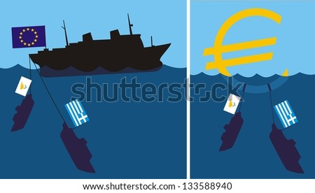 sinking eurozone - cypriot and greek crisis - stock vector
