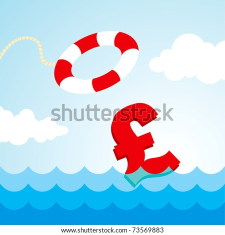 Sinking pound sign and the flying lifebuoy - stock vector