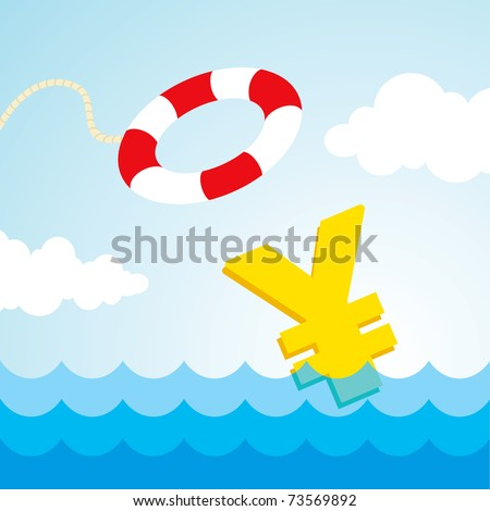 Sinking yen sign and the flying lifebuoy - stock vector