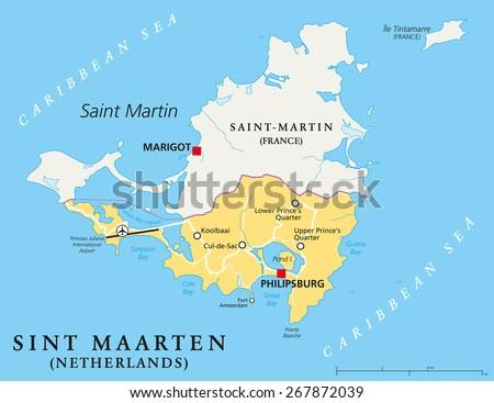 Sint Maarten Political Map Southern Part Stock Vector - Southern caribbean map