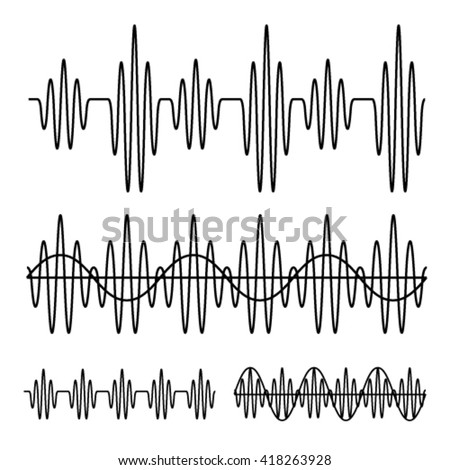 sinusoidal sound wave black line vector - stock vector