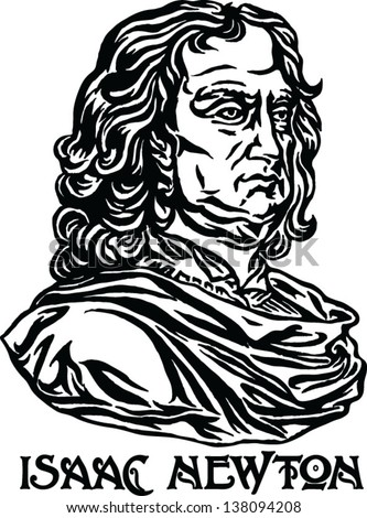 Sir Isaac Newton - English physicist and mathematician, one of the founders of classical physics. - stock vector