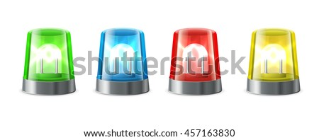 Siren for alert. Flashing lights in red, blue, yellow, green col - stock vector