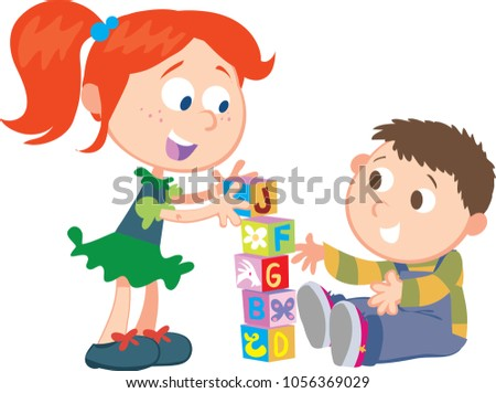 sister brother playing cubes stock vector royalty free 1056369029 rh shutterstock com Two Brothers Clip Art Two Brothers Clip Art