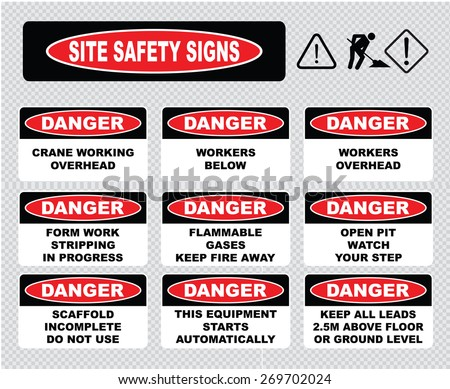 Site Safety Signs (crane working overhead, workers below, flammable gases, open pit watch your step, scaffold incomplete do not use, this equipment starts automatically, workers overhead). - stock vector