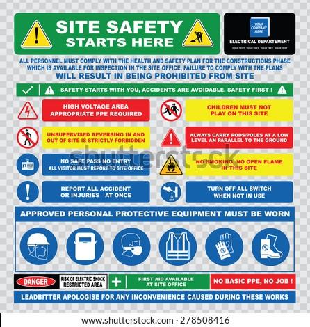site safety starts here site safety stock vector 278508416 shutterstock. Black Bedroom Furniture Sets. Home Design Ideas