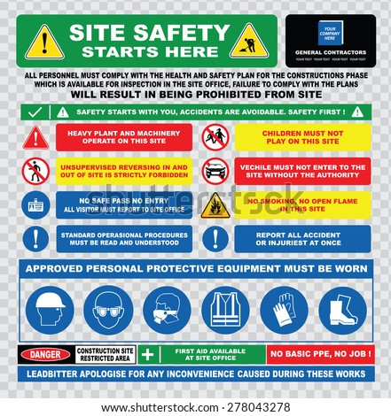site safety starts here or site safety sign (hard hats, safety goggles, visibility jackets, hand protection, protective footwear, injuries, restricted area, heavy plant) - stock vector