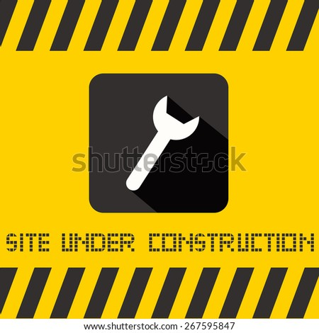 Site Under Construction Vector Title with Spanner Icon on Yellow Background