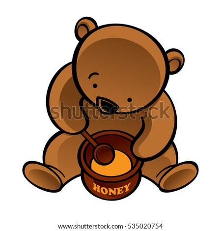 Sitting bear with spoon and honey pot