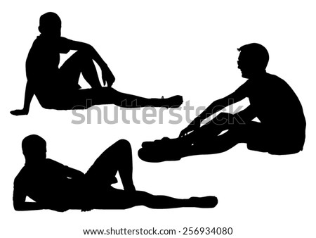 Sitting Boys Silhouettes - stock vector