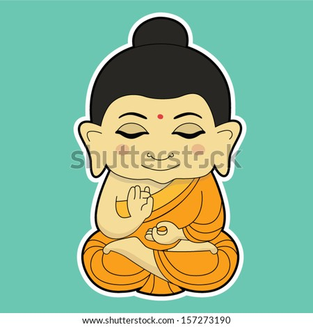 Sitting Buddha - stock vector
