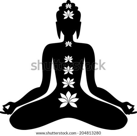 Sitting Buddha - stock vector