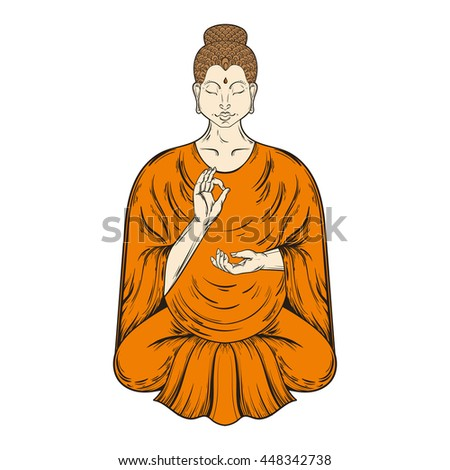 Sitting Buddha in Lotus pose, teaching Buddhism, vector tattoo art, religion t-shirt print. Monochrome vintage hand drawn illustration.  Spiritual, yoga motifs, symbol of Tibet, Asia. - stock vector