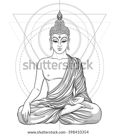 Sitting Buddha isolated on white. Vector illustration. Vintage decorative composition. Indian, Buddhism, Spiritual motifs. Tattoo, yoga, spirituality.  Coloring book for adults. - stock vector