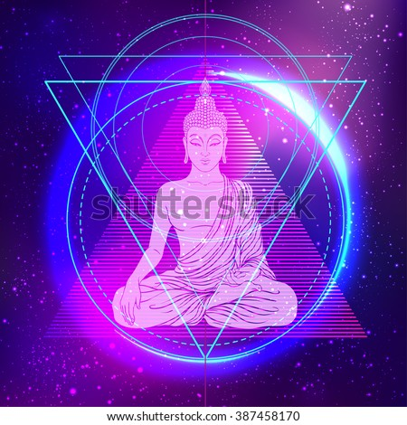 Sitting Buddha over colorful neon background. Vector illustration. Vintage decorative composition. Indian, Buddhism, Spiritual motifs. Tattoo, yoga, spirituality.   - stock vector