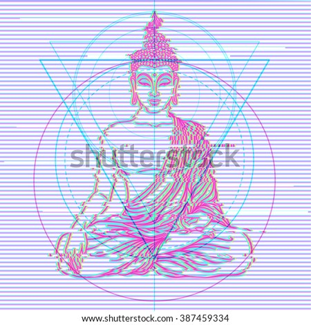 Sitting Buddha over colorful neon background. Vector illustration. Vintage decorative composition. Indian, Buddhism, Spiritual motifs. Tattoo, yoga, spirituality. Glitch corruption effect. - stock vector