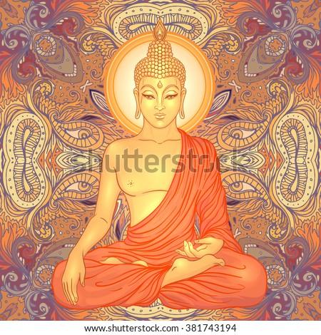 Sitting Buddha over ornate mandala round pattern. Esoteric vector illustration. Vintage decorative culture background. Indian, Buddhism, spiritual art. Hippie tattoo, spirituality, Thai god, yoga zen - stock vector