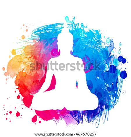 Sitting Buddha silhouette over watercolor background. Vector illustration. Vintage decorative composition. Indian, Buddhism, Spiritual motifs. Tattoo, yoga, spirituality.