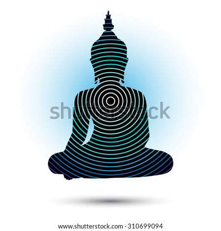 Sitting Buddha silhouette with circles. Vector illustration isolated - stock vector