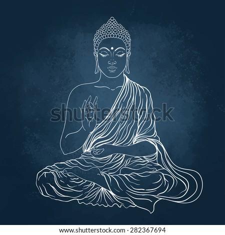 Sitting Buddha. Vector illustration over the blackboard background. - stock vector