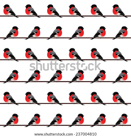 Sitting bullfinches. Vector seamless pattern.  - stock vector