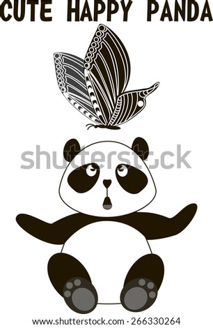 sitting cute little panda bear isolated and butterfly on a white background, vector illustration - stock vector