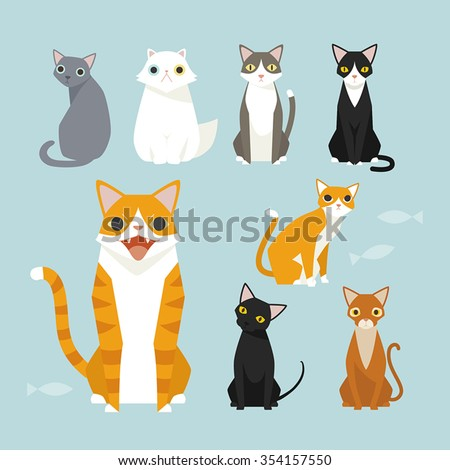 Sitting cute vector cats. White cat, Black cat, Orange cat. Brown cat. - stock vector