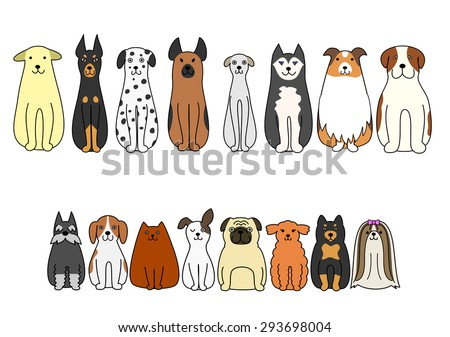 sitting dogs - stock vector