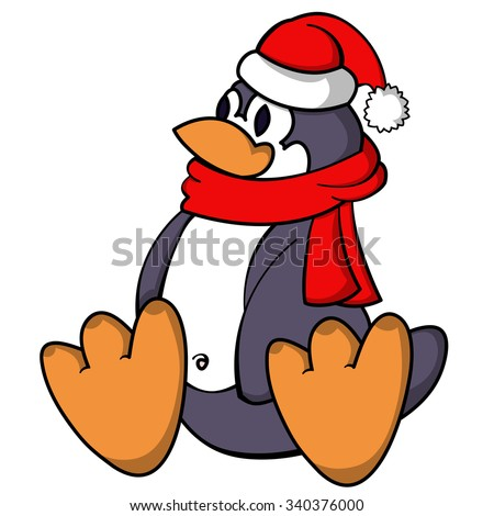 Sitting funny penguin with red scarf and Santa hat isolated on white. Vector illustration. - stock vector
