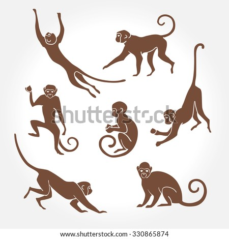 Sitting, jumping, running, hanging, walking, standing fun monkey silhouette. Isolated vector illustration. - stock vector