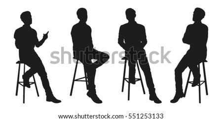 Sitting Man Vector Silhouettes Stock Vector 551253133