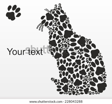 Sitting on the surface of the cat lined with cat tracks - stock vector