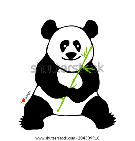 Sitting panda with bamboo branch in his paws. Vector illustration. - stock vector